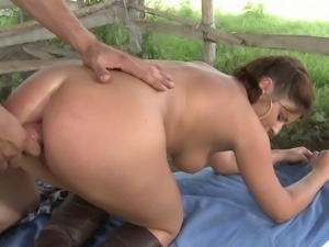 Bellina gets her pussy licked and fingered before being nailed in an outdoors...