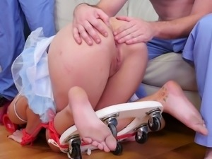 Redhead with a half-shaved head getting punished for her naughtiness