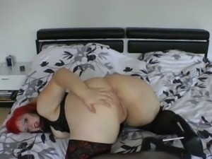 Red haired emo MILF in black stockings wanted to show off her booty