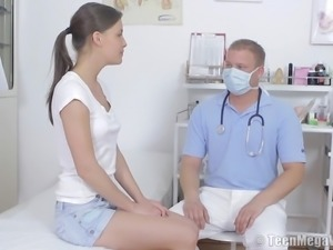 Sexy hussy rides on a big boner during a gyno exam