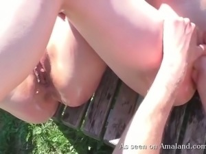 Pale skin delicious young bimbos getting fisted outside on the bench