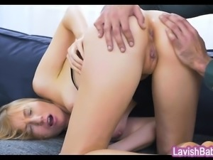 Sexy blonde babe Kiki Cyrus gets her ass banged on sofa