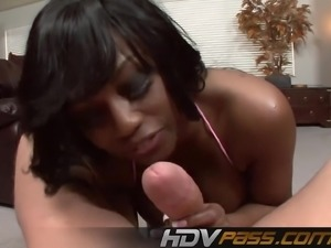 Ebony Babe Jada Fire Sucking a Big Cock Blowjob
