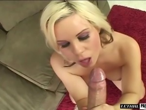 Big tits damsel giving cock titjob after seductive stripteasing