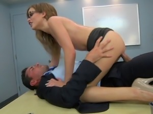 Nerdy Natasha White is always ready for some cock riding in the office