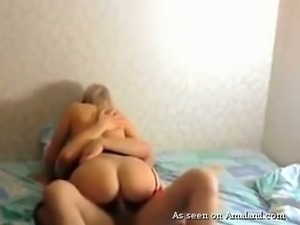 Cute blonde bitch with flat chest rides on a dick like a pro
