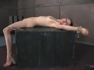 I can only sympathize with this redhead cutie Violet Monroe. Tightly bound in...