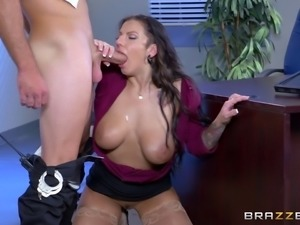 Blouse and miniskirt on a slutty babe at work fucking