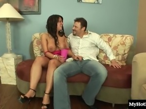 Cowgirl in high heels riding huge dick hardcore in group sex