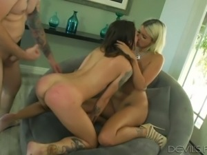 Filthy blondie Layla Price and her kinky BF give hard core fuck lesson to...