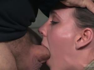 Sassy bondage dame getting rough face fucking in BDSM