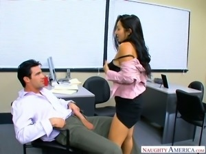 Raven haired office hottie Roxy Jezel sucks her boss off every time he wishes