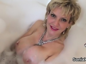Unfaithful english milf lady sonia pops out her monster tits