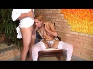 Beautiful blonde tranny in white stockings loves dick in her ass and cumshots