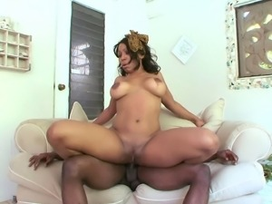 Ebony Bianca Archer has a massive black boner between her legs