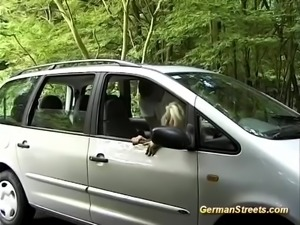 Hot blonde big silicon breast german Milf picked up for wild anal carsex