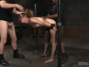 Whore Mona Wales is punished by kinky dude in the cold and dark room