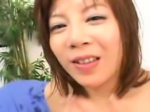 Wild Japanese lady gets fucked with sex toys and sucks two