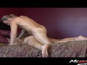Beautiful brunette is in need of her lover's erected prick