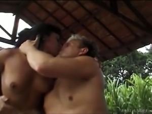 Several wanton sex dolls and a couple of kinky guys have nasty orgy on terrace