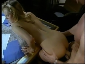 Stephanie sucks the guy's penis and turns around for a doggy treatment