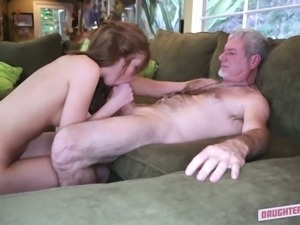 Sandy haired wild chick sucks old man off for hard pussy destruction