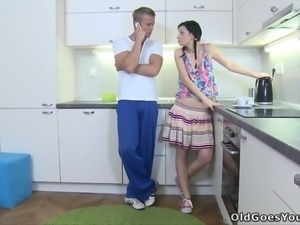 Brunette teen with pigtails gets fucked in a kitchen