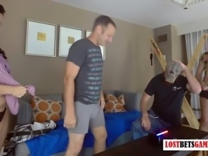 Swinger Couple Loses and the Wife Pays the Consequences As Hubby Watches