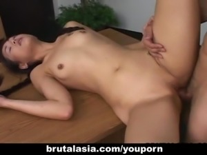 Asian schoolgirls with a shaven pussy gets fucked
