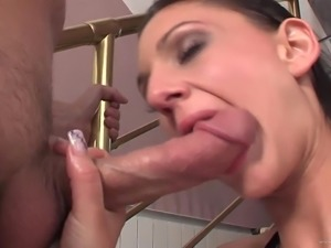 Hypnotizing babe with huge juggs and tattoo moans erotically while getting...