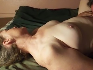 Buxom emotional brunette housewife was nailed missionary on the sofa