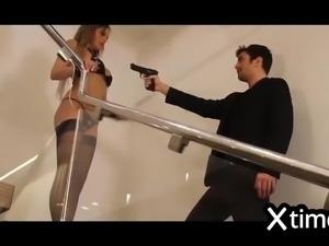 Sexy blonde in black lingerie fucks as a slut