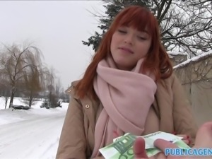 Public Agent German redhead loves cock