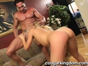 Stunning blonde wife gets drilled rough and her horny husband watches