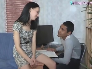 Petite Russian Brunette Is On Her Knees Sucking A Big Cock While BF Watches