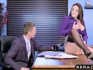 My slutty secretary squirts on my cock in the office