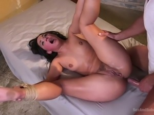 Rude dude ties up Amara Romani and fucks her mouth, pussy and anal hole