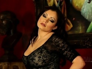 Aria Giovanni Strips and shows off her body