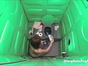 Porta Gloryhole Mall Rat parking lot Blowjob in public porta potty gloryhole