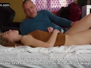 Virgin Alesya being seduced by a porn actor