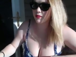 Blond haired lewd bitch made a self taped video of her flashing boobs