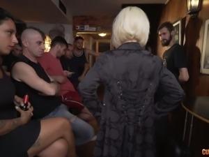 Dark haired sexy slut Alexa Nasha takes part in wild orgy session