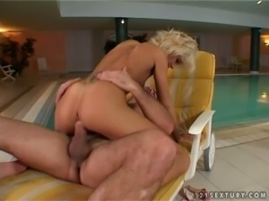 Flat breasted blond cutie Cora Carina  got fucked on chaise longue by the pool