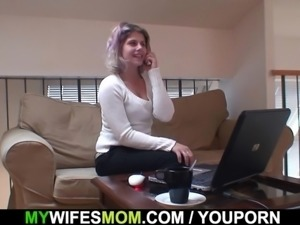 He finds his girlfriends mom masturbating
