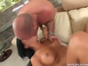 Fuck hungry brunette slut Sativa Rose gives classy fellatio to her kinky man...