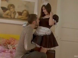 Hot maid Jackie gets it on with her master in the bedroom