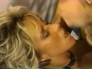 Sexy blonde milf bitch loves to feed on a dick on the couch