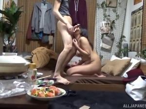 Hot Japanese couple has a fun time fucking hardcore