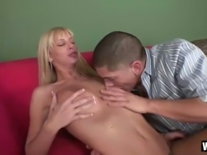 Long legged filthy blondie Brooke Banner sucks her buddy off with passion