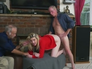 Cute and lovely blonde girl undressed and boned by old men